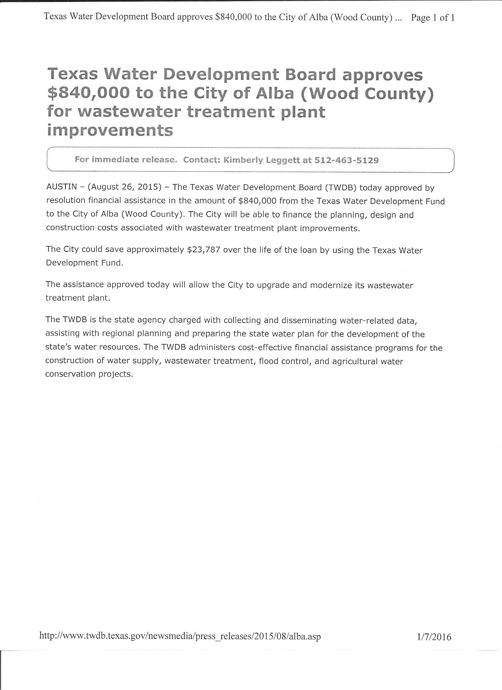 water u2014 welcome to alba texas